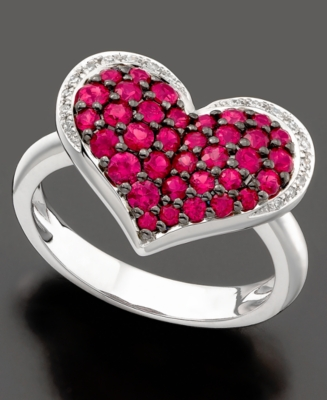 Effy Collection Ring, 14k White Gold Ruby (1-1/4 ct. t.w.) and Diamond Accent Heart