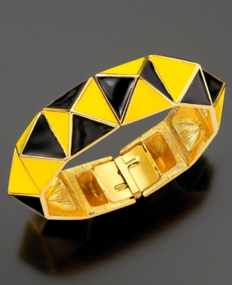 Kenneth Jay Lane Bracelet, Yellow and Black Geometric Bangle