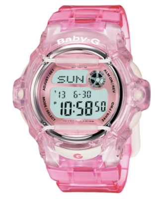 Baby-G Watch, Women's Clear Pink Strap BG169R-4