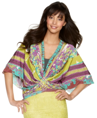Rampage Top, Mixed Print V-Neck Dolman Sleeve