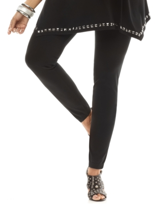 INC International Concepts Plus Size Leggings, Contrast Side Zip