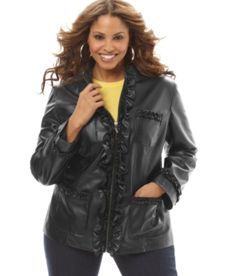 INC International Concepts Plus Size Jacket, Faux Leather Ruffled Zip