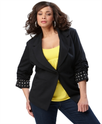 INC International Concepts Plus Size Jacket, Studded Boyfriend Blazer