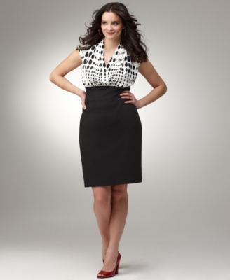 Alfani Plus Size Dress, Cap Sleeves Systems Dot Print Bodice