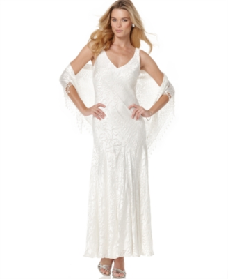 Alex Evenings Dress, Long Burnout Dress with Shawl - Wedding Dress