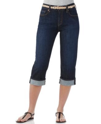 Levi's 515 Petite Jeans, Cuffed Capri Sanded Dark Wash