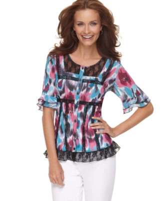 NY Collection Top, Scoopneck Print Button Down with Lace