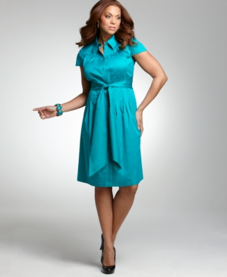 Alfani Plus Size Dress, Cap Sleeve Pleated Shirtdress - Alfani