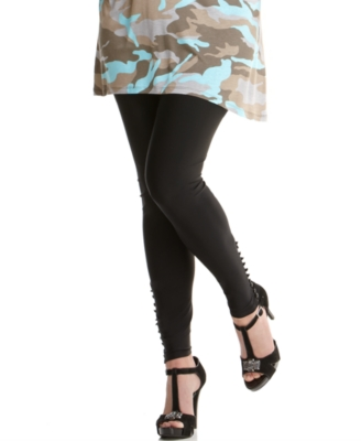 INC International Concepts Plus Size Leggings, Ball Button Cuffs