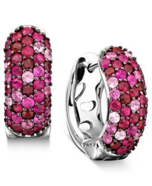 Effy Collection 18k Gold and Sterling Silver Earrings, Pink Sapphire (1-3/8 ct. t.w.) and Ruby (1-3/8 ct. t.w.)