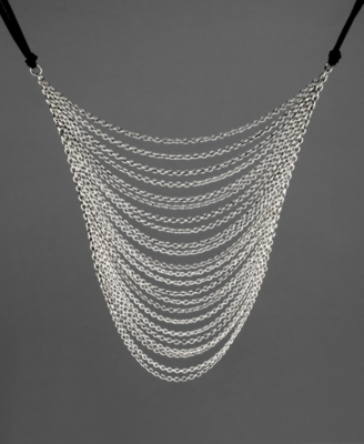 GUESS Necklace, Silvertone Multi-Chain - Layered Necklaces