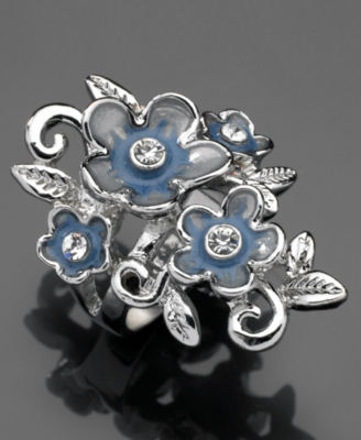 GUESS Ring, Silvertone Mixed Metal and Blue Enamel Flower - Decorative Rings