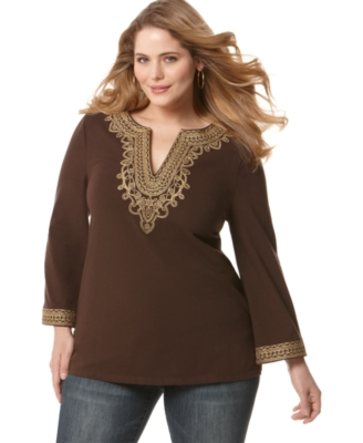 MICHAEL Michael Kors Plus Size Tunic, Long Sleeve Embroidered
