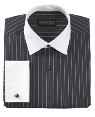 Donald Trump Dress Shirt, Charcoal Stripe French Cuff
