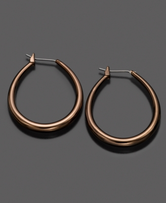 Fossil Earrings, Brown Tube Hoop
