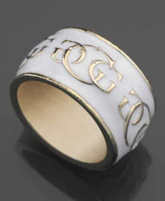 GUESS Ring, White Enamel Logo