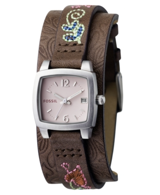 Fossil Watch, Women's Brown Embroidered Leather Strap JR1113