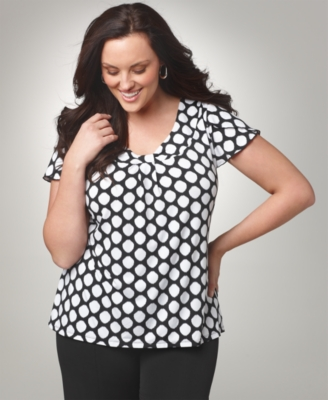 Alfani Plus Size Top, Dot Print Knot Front Scoopneck