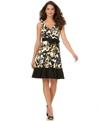 Nine West Dress, Sleeveless Floral A-Line