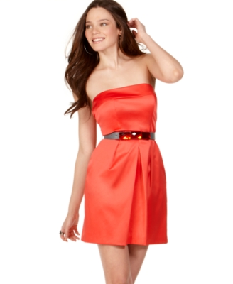 Jump Casual Dress, Strapless Tube with Jeweled Belt