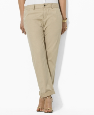 Lauren by Ralph Lauren Plus Size Pants, Boyfriend Chino