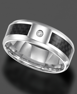 Men's Stainless Steel Ring, Diamond Accent (Size 8-15)