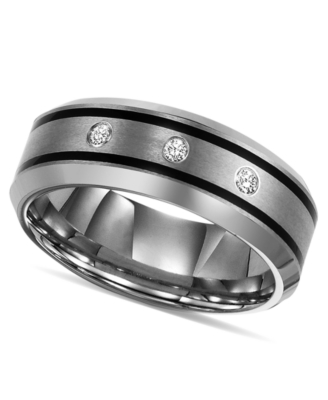 Men's Tungsten Ring, Diamond (1/10 ct. t.w.) (Size 8-15)