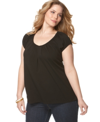 MICHAEL Michael Kors Plus Size Top, Cap Sleeve Pleated Knit