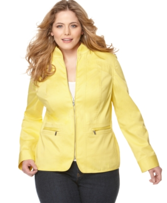 Jones New York Signature Plus Size Jacket, Long Sleeve Zip Front