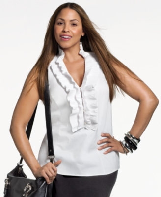 Alfani Plus Size Shirt, Sleeveless Ruffle Front