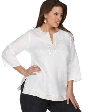 Charter Club Plus Size Top, Linen Metallic Embroidered Tunic - Tops