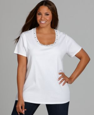 Style&co. Plus Size Tee, Studded Scoop Neck