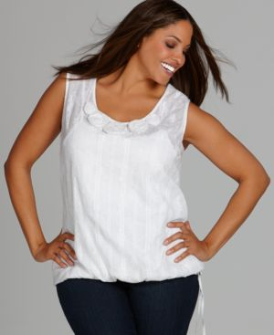 Style&co. Plus Size Top, Sleeveless Embroidered Rosette Blouson