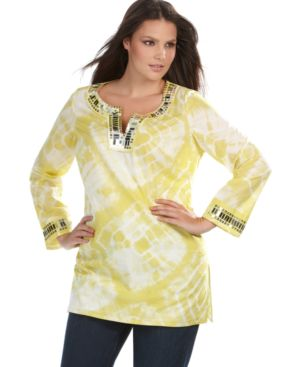 INC International Concepts Plus Size Top, Tie Dyed Paillette Tunic