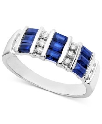 14k White Gold Ring, Sapphire (1 ct. t.w.) and Diamond (1/5 ct. t.w.) - Gemstone Rings
