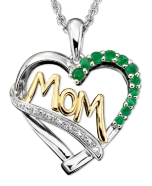 Sterling Silver and 14k Gold Pendant, Emerald (1/3 ct. t.w.) and Diamond Accent Heart Mom