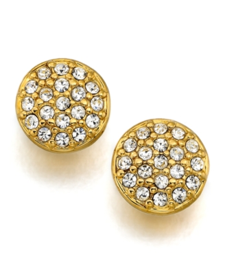 Lauren by Ralph Lauren Earrings, Goldtone Mixed Metal and Crystal Accent Stud