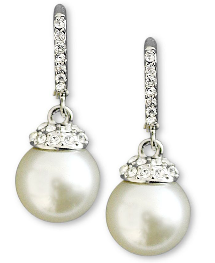 Givenchy - Earrings, Crystal Accent and White Glass Pearl