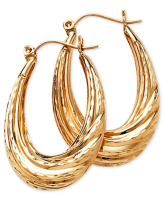 14k Gold Oval Hoop Earrings - Gold Hoops