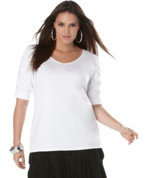INC International Concepts Plus Size Top, Ruched Sleeve
