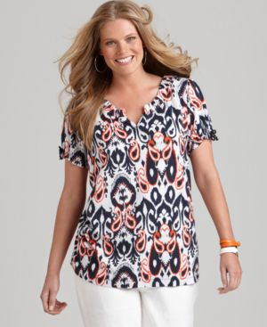 Tommy Hilfiger Plus Size Top, Malu Short Sleeve Ikat Print