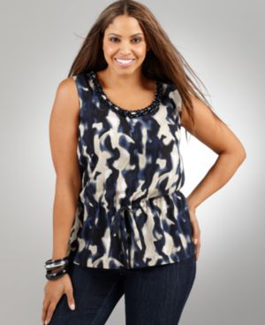 Alfani Plus Size Top, Sleeveless Blur Pirint Chain Trim