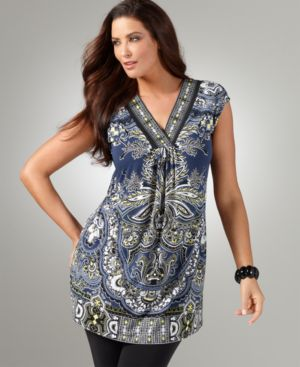 Alfani Plus Size Top, Cap Sleeve Wall Paper Print Tunic - Clothes