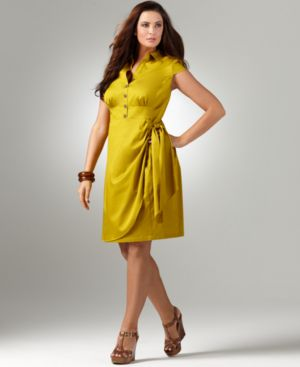 Alfani Plus Size Dress, Cap Sleeve Wrap Skirt