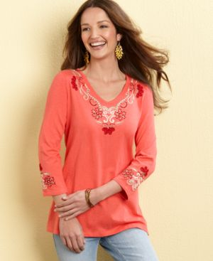 Charter Club Top, V-Neck Embroidered Knit
