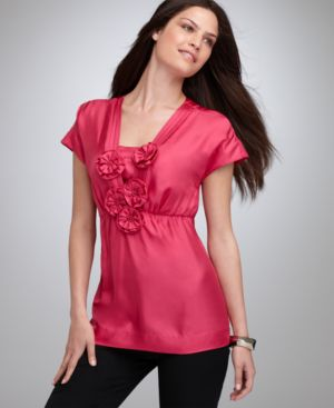 Alfani Top, Cap Sleeve with Rosettes