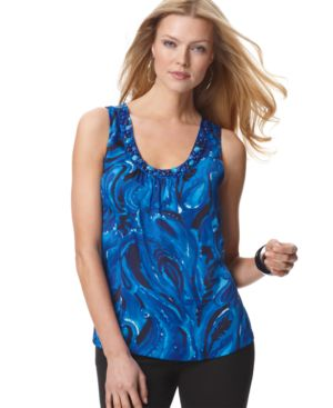 MICHAEL Michael Kors Top, Sleeveless Beaded Neckline
