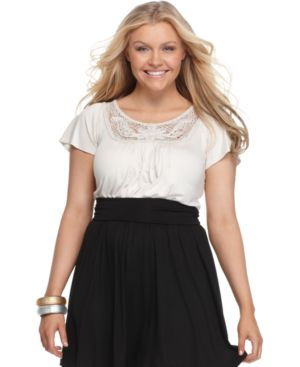 Soprano Plus Size Top, Flutter Sleeve Crochet Trim Knit - Soprano