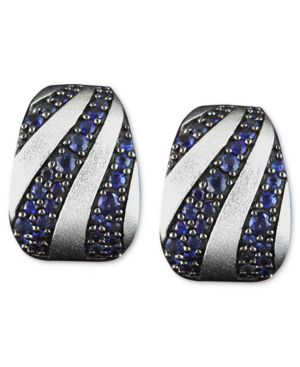 Effy Collection Sterling Silver Earrings, Sapphire Stripe (2-3/8 ct. t.w.)