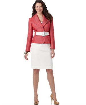 Calvin Klein Suit, Long Sleeve Belted Contrast Jacket & Pencil Skirt - Suits